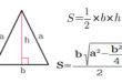 Площадь равнобедренного треугольника